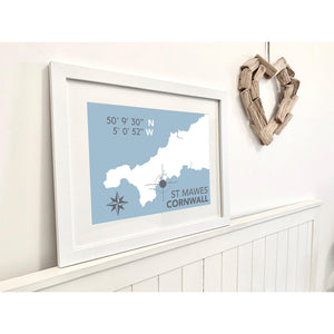 St Mawes Nautical Map - Coastal Wall Art