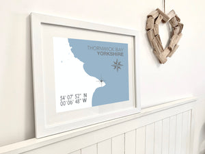 Thornwick Bay Map Travel Print- Coastal Wall Art /Poster