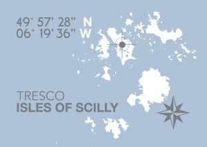 Tresco, Isles of Scilly Map Travel Print- Coastal Wall Art /Poster