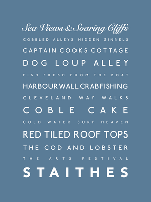 Staithes Typographic Seaside Print - Coastal Wall Art /Poster