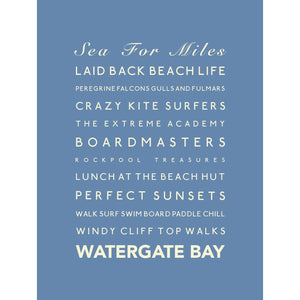 Watergate Bay Typographic Travel Print- Coastal Wall Art