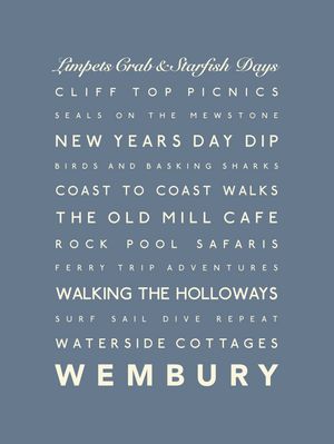 Wembury Typographic Travel Print- Coastal Wall Art /Poster