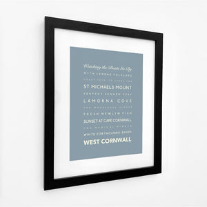 West Cornwall Typographic Travel Print- Coastal Wall Art /Poster
