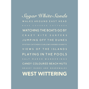 West Wittering Typographic Print- Coastal Wall Art /Poster