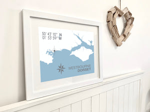 Westbourne Map Travel Print- Coastal Wall Art /Poster