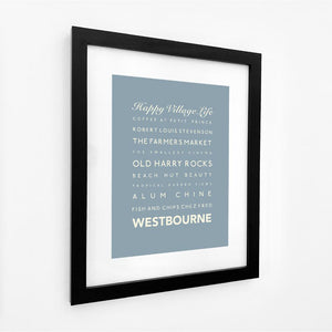 Westbourne Typographic Travel Print- Coastal Wall Art /Poster