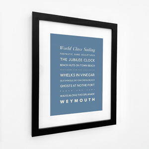 Weymouth Typographic Travel Print- Coastal Wall Art /Poster