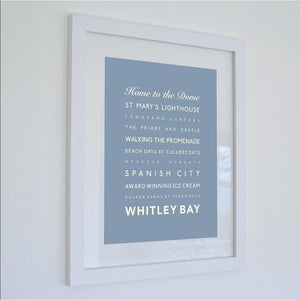 Whitley Bay Typographic Travel Print - Coastal Wall Art /Poster