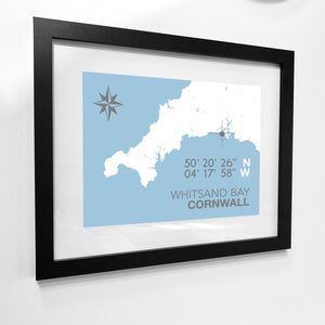 Whitsand Bay Map Travel Print- Coastal Wall Art /Poster