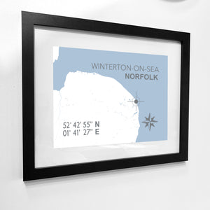 Winterton-on-Sea Map Travel Print- Coastal Wall Art /Poster