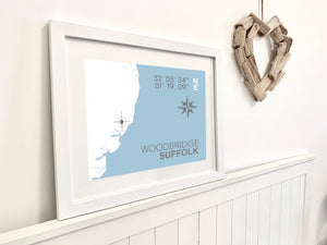 Woodbridge Nautical Map Print - Coastal Wall Art /Poster