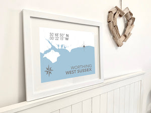 Worthing Map Travel Print- Coastal Wall Art /Poster