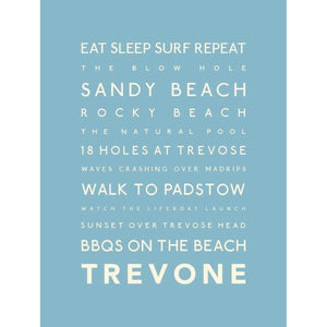 Trevone Typographic Travel Print- Coastal Wall Art /Poster