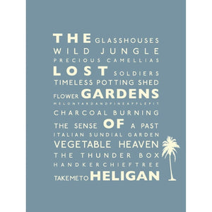 The Lost Gardens of Heligan Typographic Travel Print /Poster