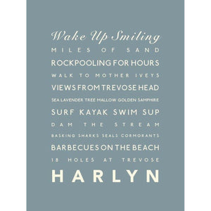 Harlyn Typographic Travel Print- Coastal Wall Art /Poster