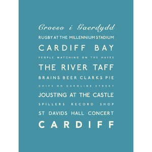 Cardiff Typographic Travel Print/Poster Seaside Art by SeaKisses