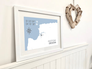Instow Map Travel Print- Coastal Wall Art /Poster