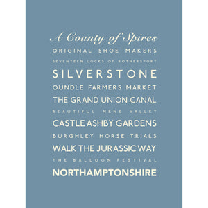 Northamptonshire Typographic Print - County Wall Art /Poster