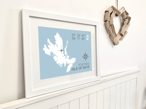Portree Map Travel Print - Coastal Wall Art /Poster