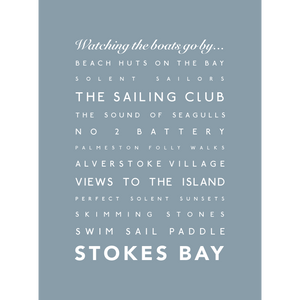 Stokes Bay Typographic Travel Print- Coastal Wall Art /Poster