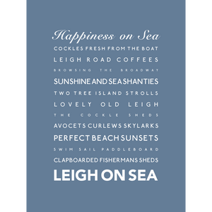 Leigh-on-Sea Typographic Travel Print- Coastal Wall Art /Poster