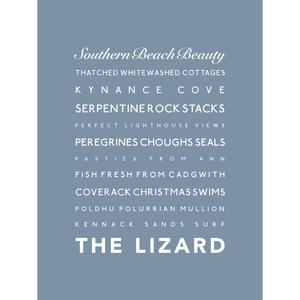 The Lizard Typographic Travel Print- Coastal Wall Art /Poster