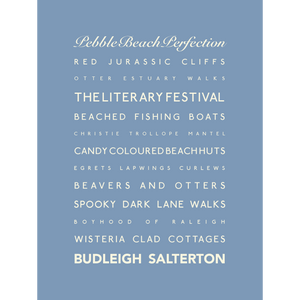 Budleigh Salterton Typographic Travel Print- Coastal Wall Art /Poster