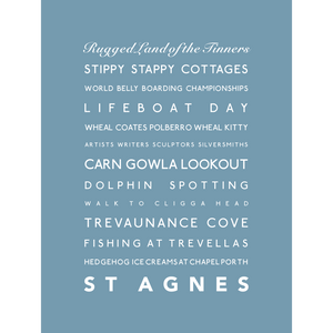 St Agnes Typographic Seaside Print - Coastal Wall Art /Poster