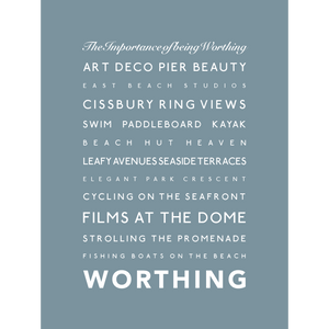 Worthing Typographic Print- Coastal Wall Art /Poster