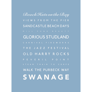 Swanage Typographic Travel Print- Coastal Wall Art /Poster