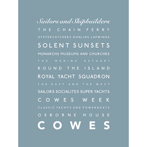 Cowes Typographic Seaside Print - Coastal Wall Art /Poster
