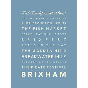 Brixham Typographic Seaside Print - Coastal Wall Art /Poster