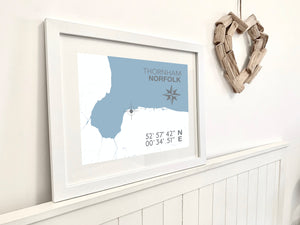 Thornham Map Travel Print- Coastal Wall Art /Poster