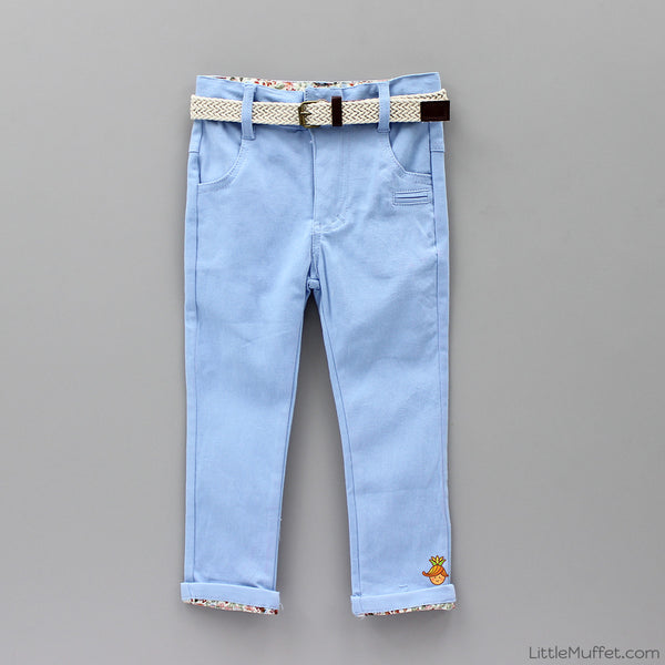 Blue Pants With Beige Belt