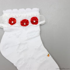 Party Socks - White with Red Flowers