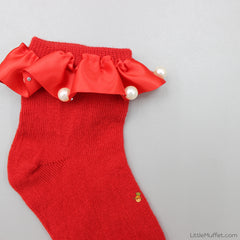 Party Pearls And Frills Socks - Red
