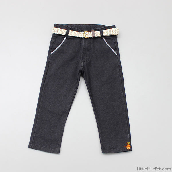Charcoal Black Pants With Beige Belt