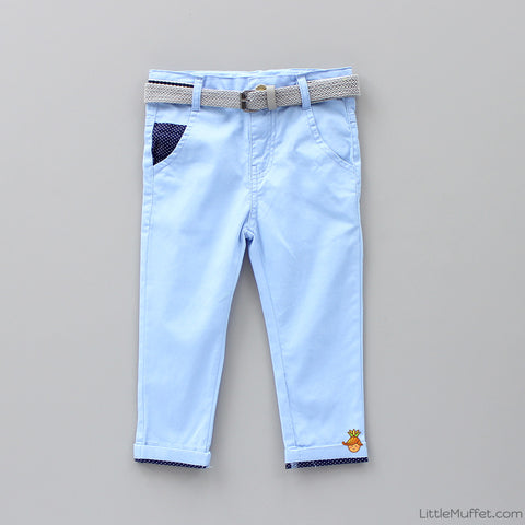 Blue Pants with Grey Belt