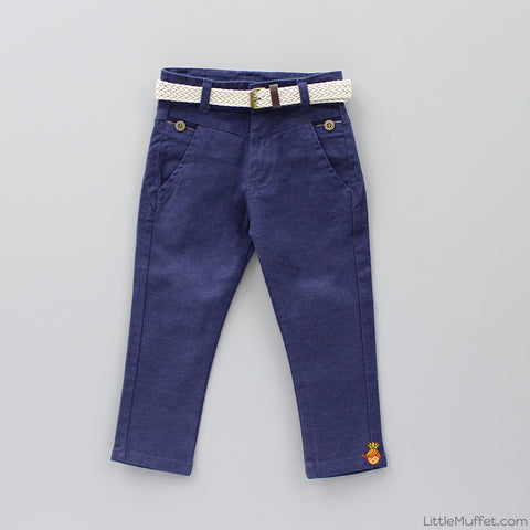 Navy Blue Pants with Beige Belt