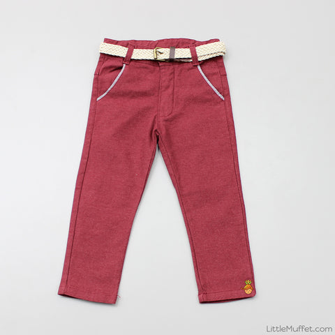 Maroon Pants With Beige Belt
