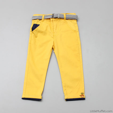 Yellow Pants with Grey Belt
