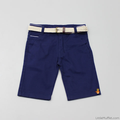 Navy Blue Shorts With Beige Belt