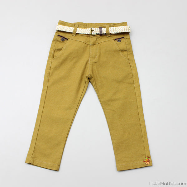 Khaki Pants With Beige Belt