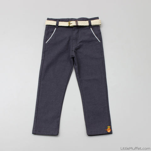 Grey Pants With Beige Belt