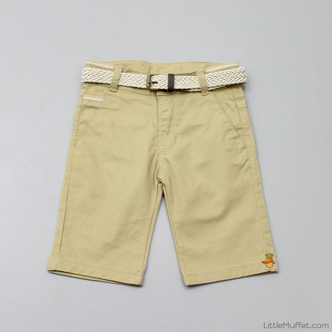 Khaki Shorts With Beige Belt