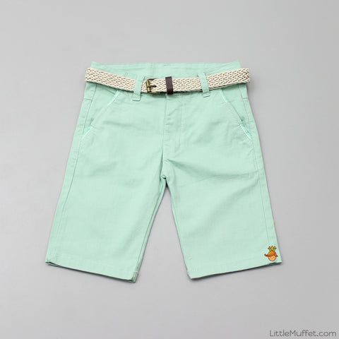 Green Shorts With Beige Belt