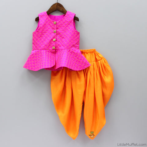 Pre Order: Hot Pink Top And Orange Dhoti Set