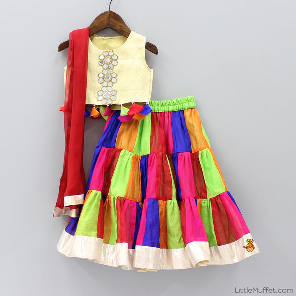 Pre Order: Multicolour Chanderi Lehenga Choli