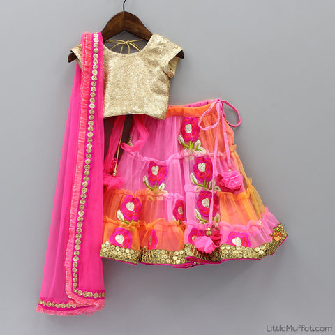 Pre Order: Gold Sequins Ghagra