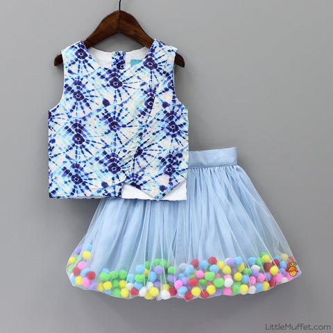 Pre Order: Pom Pom Wiggle Skirt & Crop Top Set
